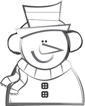 Snowman Clip Art - Colored and Black and White