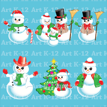 Snowman Clip Art - Commercial or Personal Use