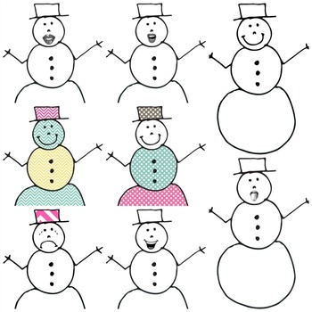 Snowman Clip Art - HAND DRAWN!