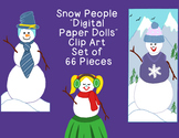 Snowman Clip Art PNG JPG Christmas Winter Blackline Commercial Personal