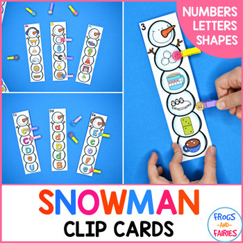 Snowman Clip Cards - Numbers, Letters, Shapes