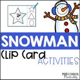 Snowman Clip Cards Preschool