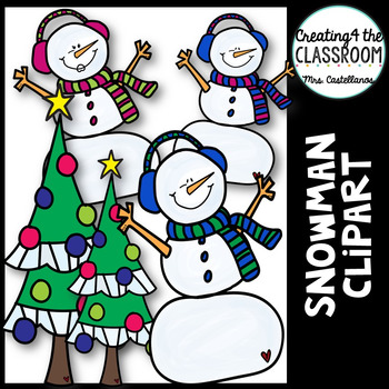 Snowman Clip art {Holiday Clipart}
