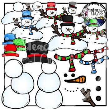 Build a Snowman Clipart (Winter Clipart)