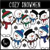Snowman Clipart Bundle • Full Color and B&W Clip Art