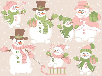Snowman Clipart - Digital Vector Christmas, Winter, Snowme