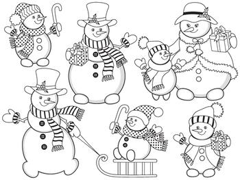 Snowman Clipart - Digital Vector Christmas, Winter, Snowmen Clip Art