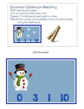 Snowman Clothespinning