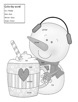 Snowman Color By Word