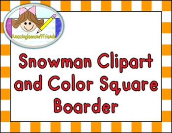 Snowman Color Clipart and Color Square Boarder