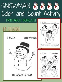 Snowman Color & Count Activity - Printable Booklet