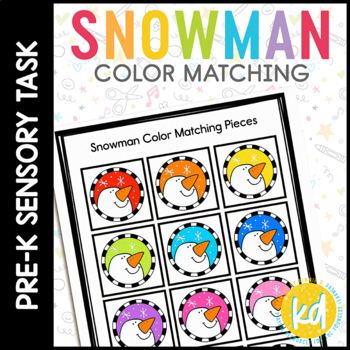 Snowman Color Match Folder Game for students with Autism
