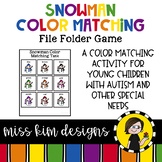 Folder Game: Snowman Color Matching 2 for Students with Autism & Special Needs