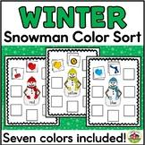 Winter Snowman Sort by Color Activity for Preschool