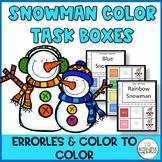 Snowman Color Task Boxes