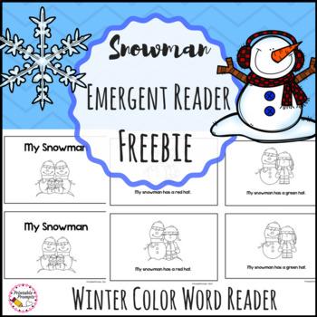Snowman Color Word Emergent Reader Freebie