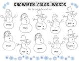 Snowman Color Words