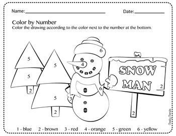 Snowman - Color by Number