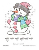 Snowman Color by Number-- Double Digit Addition and Subtraction