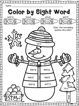 Snowman - Color by Sight Word by Tara Hardink - My First ...
