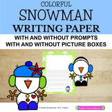 Snowman: Colorful Snowman Primary Writing Paper with Drawing Boxes & Without