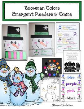 "Winter: Snowman Craft: ""Snowman Colors"" Emergent Readers & Game"
