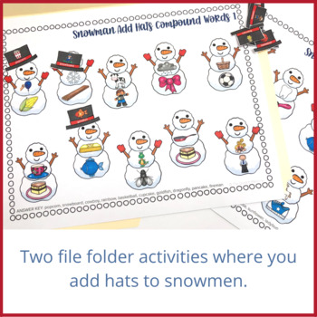 Snowman: Compound Words File Folder Activity
