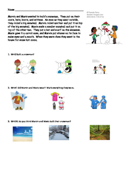 Snowman Comprehension Story