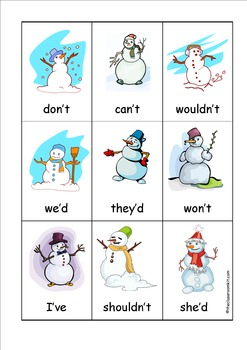Snowman Contraction Card Game