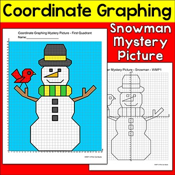 Winter Math - Graphing Coordinates Snowman Mystery Picture