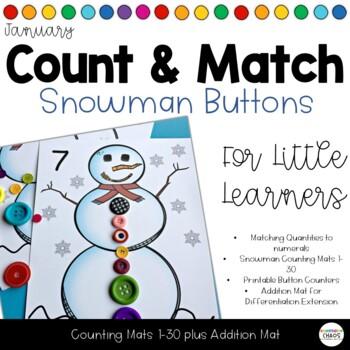 Snowman Count and Match Button Math Activity 1-30