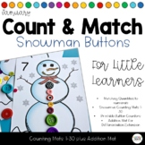 Snowman Count and Match Button Math Activity 1-30