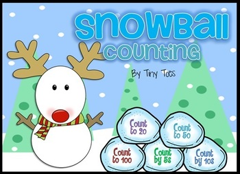 Snowman Counting Game - count to 20, 50, 100, by 5s, by 10s falling snowballs