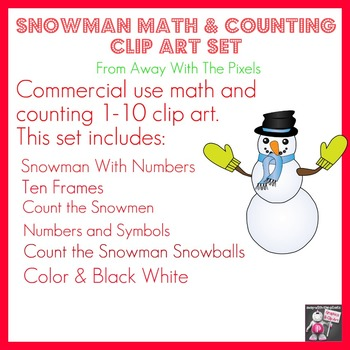 Snowman Counting & Math Clip Art 1 - 10 - Color and Blacklines!