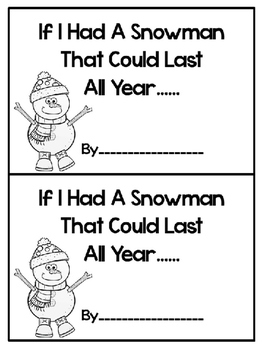 """Snowman Craft and Writing for """"Snowmen All Year"""" by Caralyn Buehner"""
