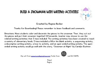 Snowman Craft with Writing Activities