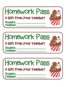 """Snowman Cupcake"" Homework Pass –Holiday FUN! (full color version)"