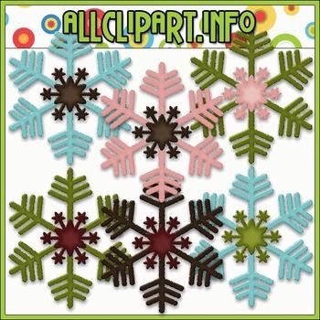 Snowman Delights Snowflakes Clip Art