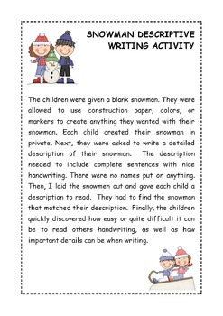 Snowman Descriptive Writing Craftivity