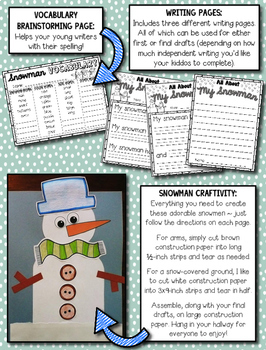 Snowman Descriptive Writing and Snowman Craftivity --- All About My Snowman