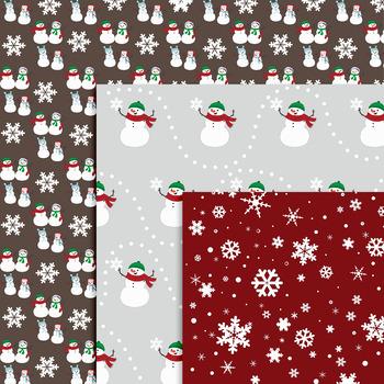 Snowman Digital Papers - Holiday Digital Patterns - Christmas Digital Papers