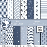 Snowman Digital Scrapbook Paper Backgrounds, Snow Day / Wi