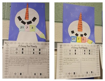 Snowman Division Fact Family and Story Problem Craft