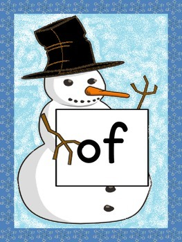 Snowman Dolch First Grade Sight Word Posters and Flashcards