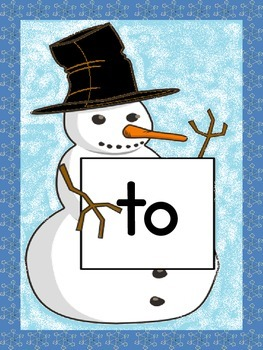 Snowman Dolch Pre-Primer Sight Word Posters and Flashcards