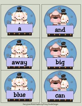 Snowman Dolch PrePrimer Word Cards