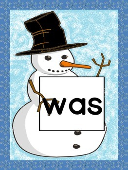 Snowman Dolch Primer Sight Word Posters and Flashcards