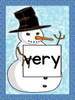 Snowman Dolch Second Grade Sight Word Posters and Flashcards