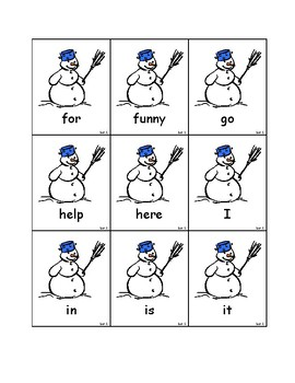 Snowman Dolch Sight Words