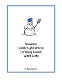Snowman Dolch Sight Words (including Nouns) Word Lists